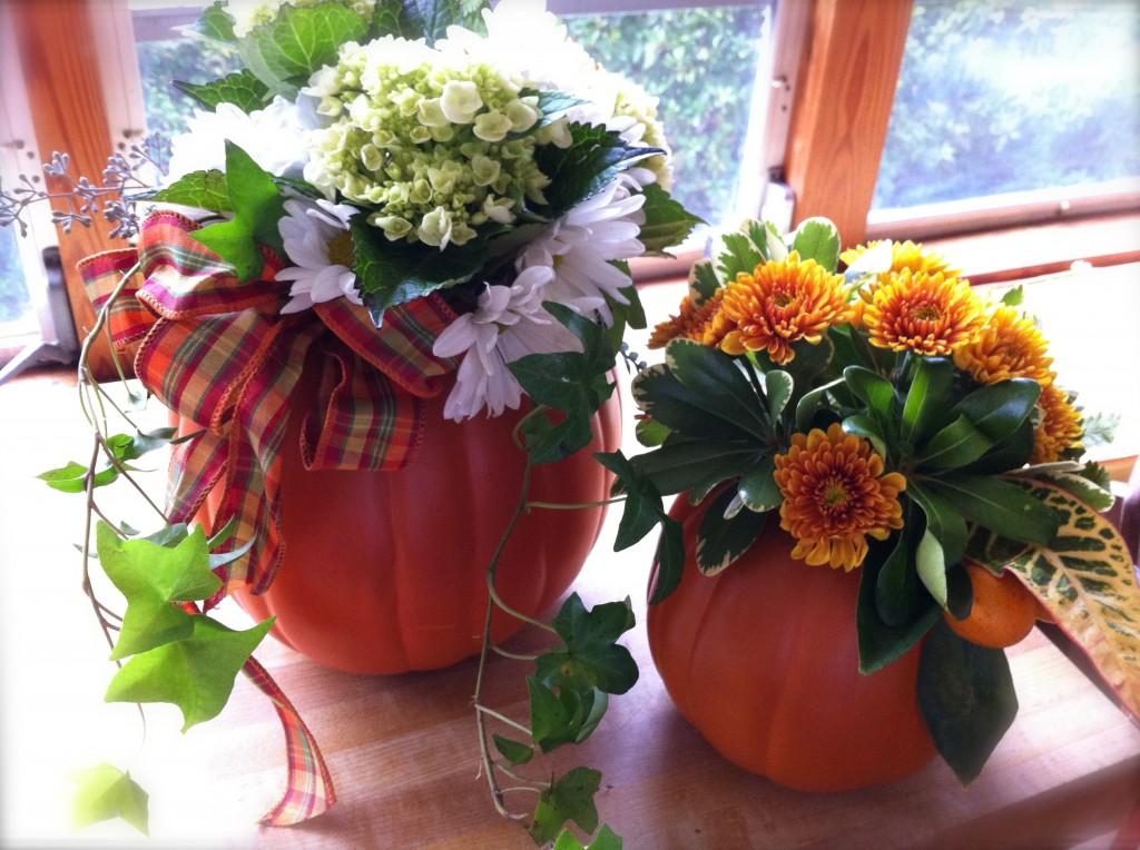 Fall pumpkin flower arrangement Fall floral arrangements